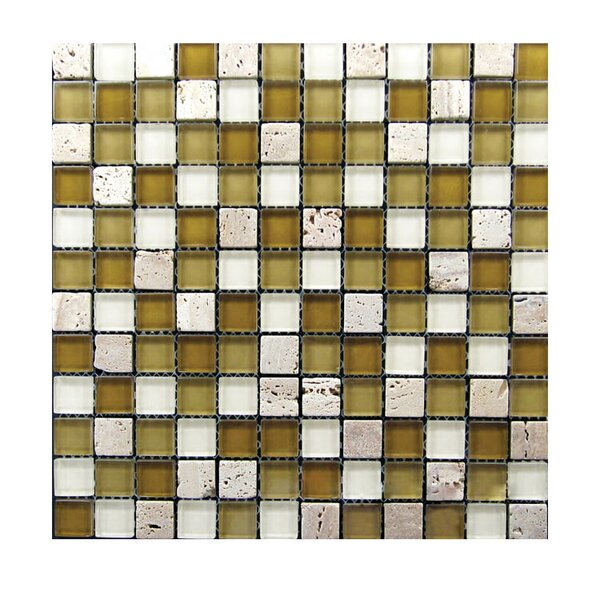 1 x 1 Glass Mosaic Tile in Brown/White by QDI Surfaces