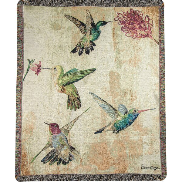 Hummingbird Floral Tapestry Cotton Throw by Manual Woodworkers & Weavers