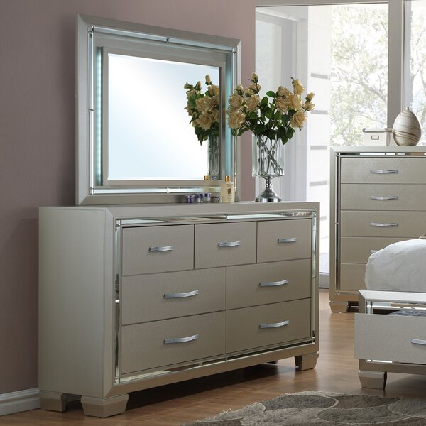 Quattlebaum 7 Drawer Double Dresser with Mirror by Harriet Bee