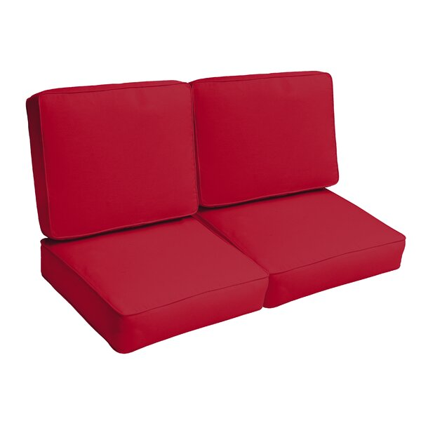Crimson Piped 4 Piece Indoor/Outdoor Loveseat Cushion Set by Red Barrel Studio