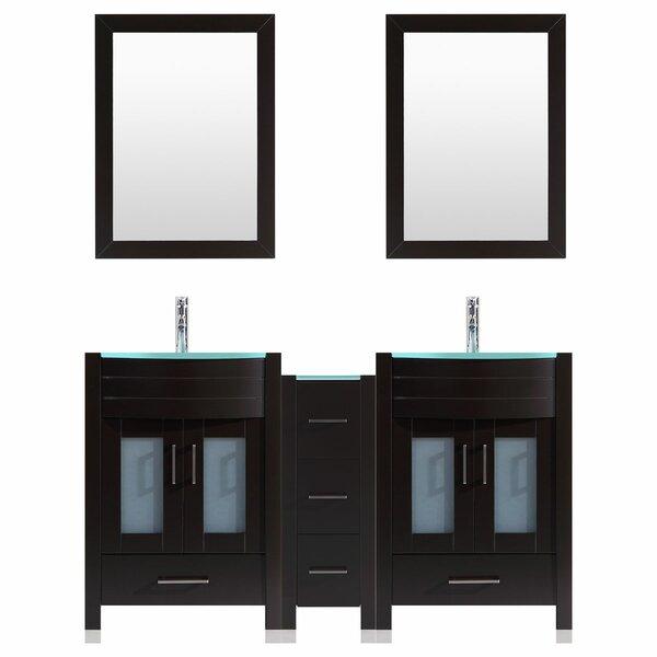 Marguez 60 Double Bathroom Vanity Set with Wood Frame Mirror