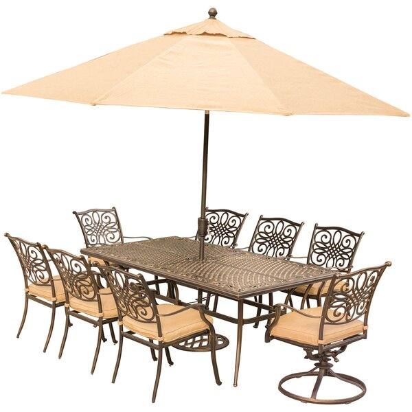 Carleton 9 Piece Rectangular Metal Dining Set with Cushions by Fleur De Lis Living