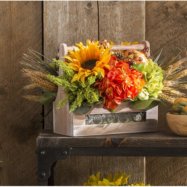 Indoor Faux Floral Harvest Basket by August Grove