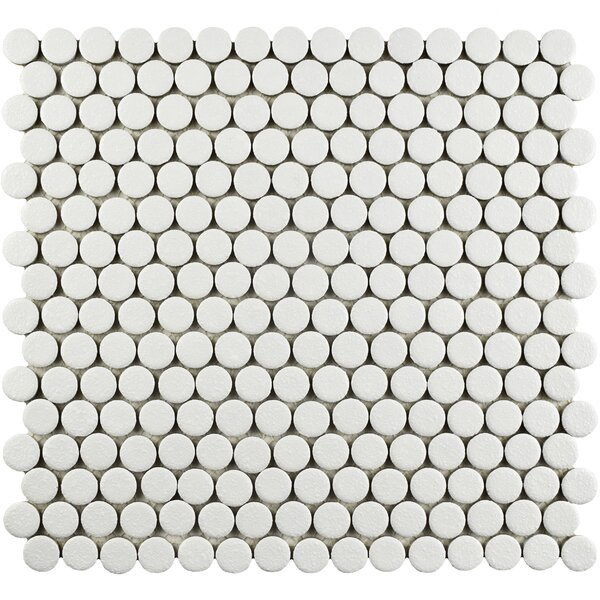 Penny Minerva 12 x 12.63 Porcelain Mosaic Floor and Wall Tile in White by EliteTile