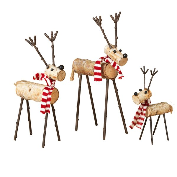 3 Piece Wood Deer Figurine Set by Gerson International