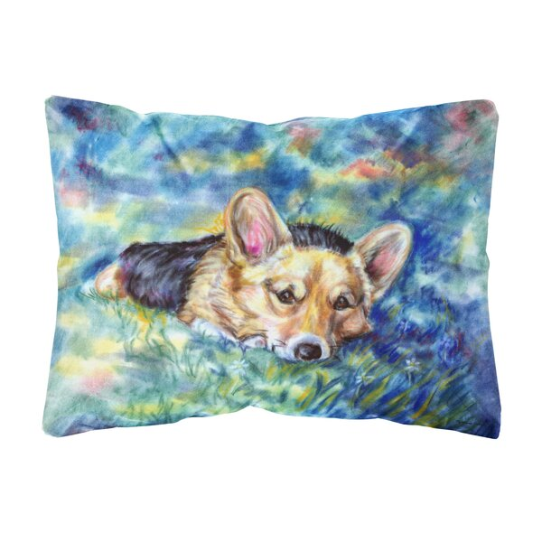 Sclafani Corgi Tuckered out Fabric Indoor/Outdoor Throw Pillow by Winston Porter