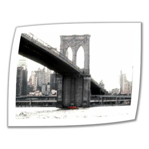 NYC Brooklyn Bridge' by Linda Parker Graphic Art on Rolled Canvas by ArtWall
