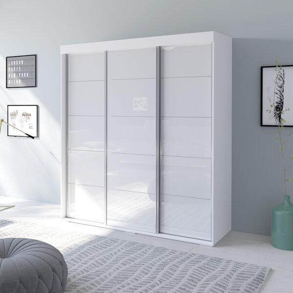 Neillsville 3 Door Modern High Gloss Armoire By Orren Ellis by Orren Ellis Comparison