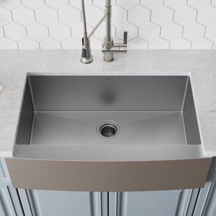 36 L x 21 W Farmhouse Kitchen Sink with Drain Assembly ByKraus