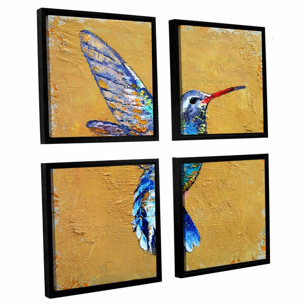 Turquoise Hummingbird 4 Piece Framed Painting Print on Canvas Set by Bay Isle Home