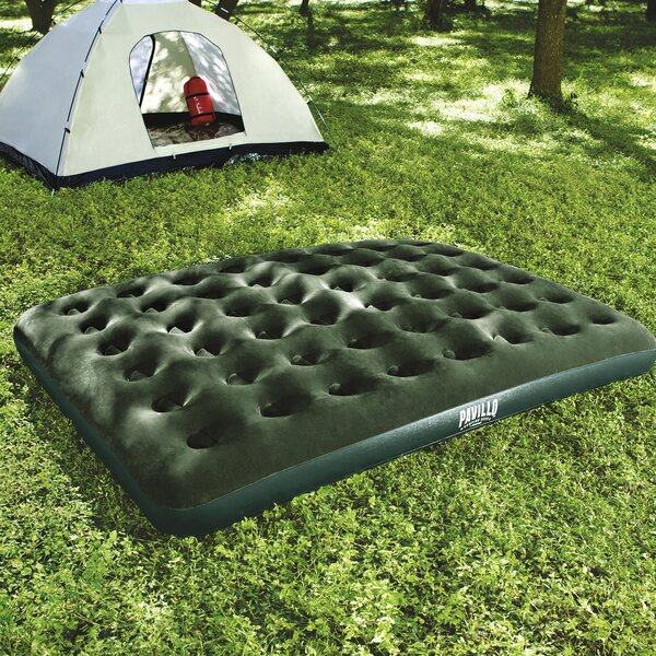 Queen Flocked 9 Air Mattress with D Cell Pump by Bestway