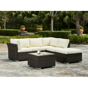 Waltonville 5 Piece Outdoor Sectional Seating Group With Cushion