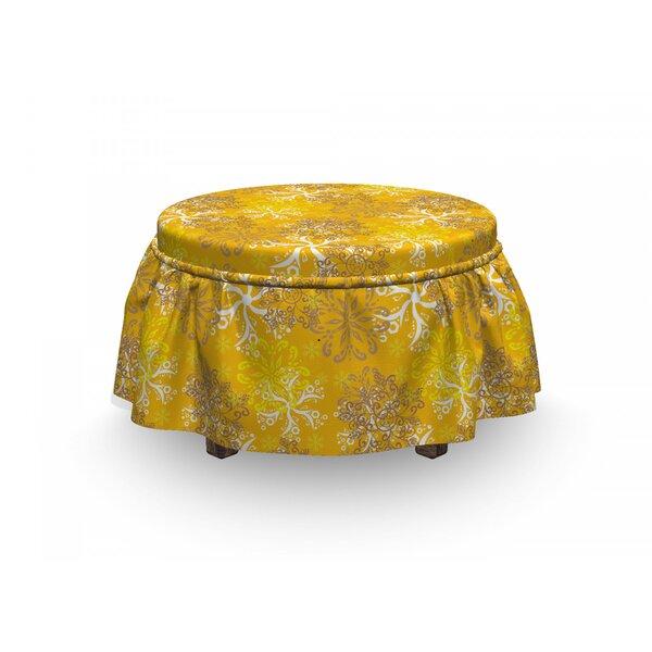 Ornate Design 2 Piece Box Cushion Ottoman Slipcover Set By East Urban Home