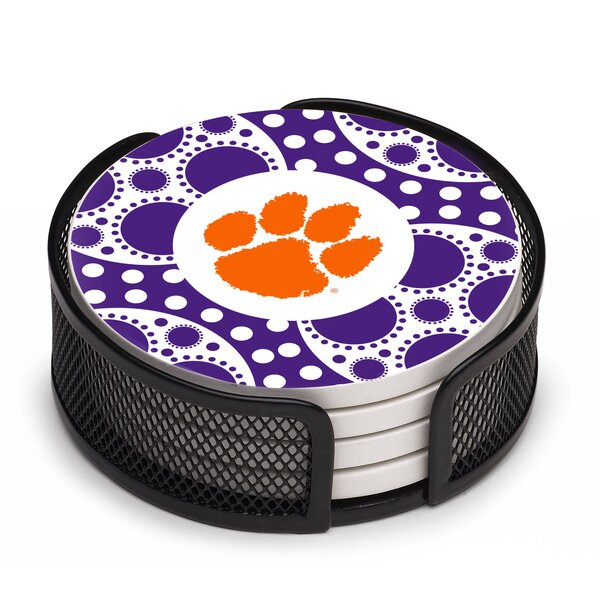5 Piece Clemson University Circles Collegiate Coaster Gift Set by Thirstystone