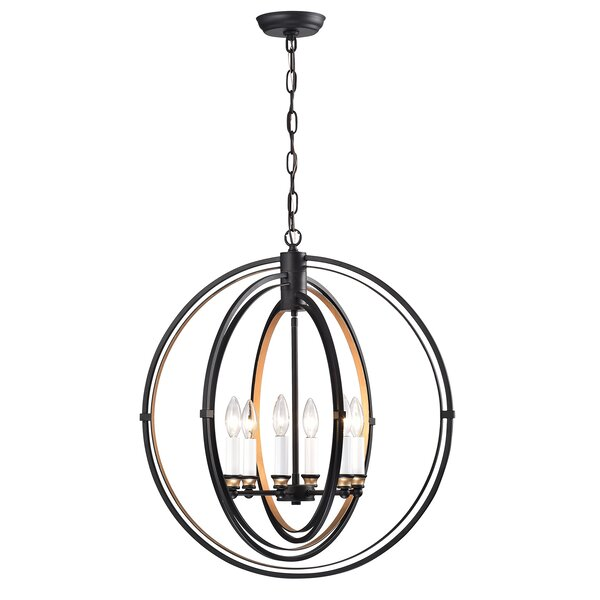 Strafford 6 - Light Candle Style Globe Chandelier by Gracie Oaks Gracie Oaks