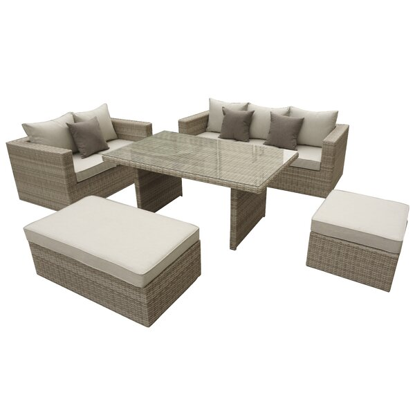 Nowak 5 Piece Rattan Sofa Seating Group with Cushions by Willa Arlo Interiors