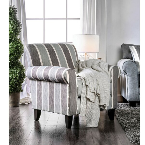 Urgeon Stripe Patterned Fabric Armchair by Canora Grey