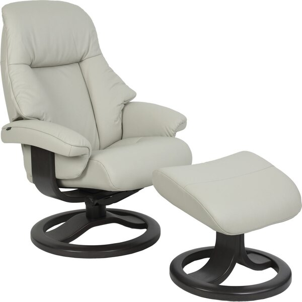 Oolitic Genuine Leather Manual Swivel Recliner with Ottoman W000500999