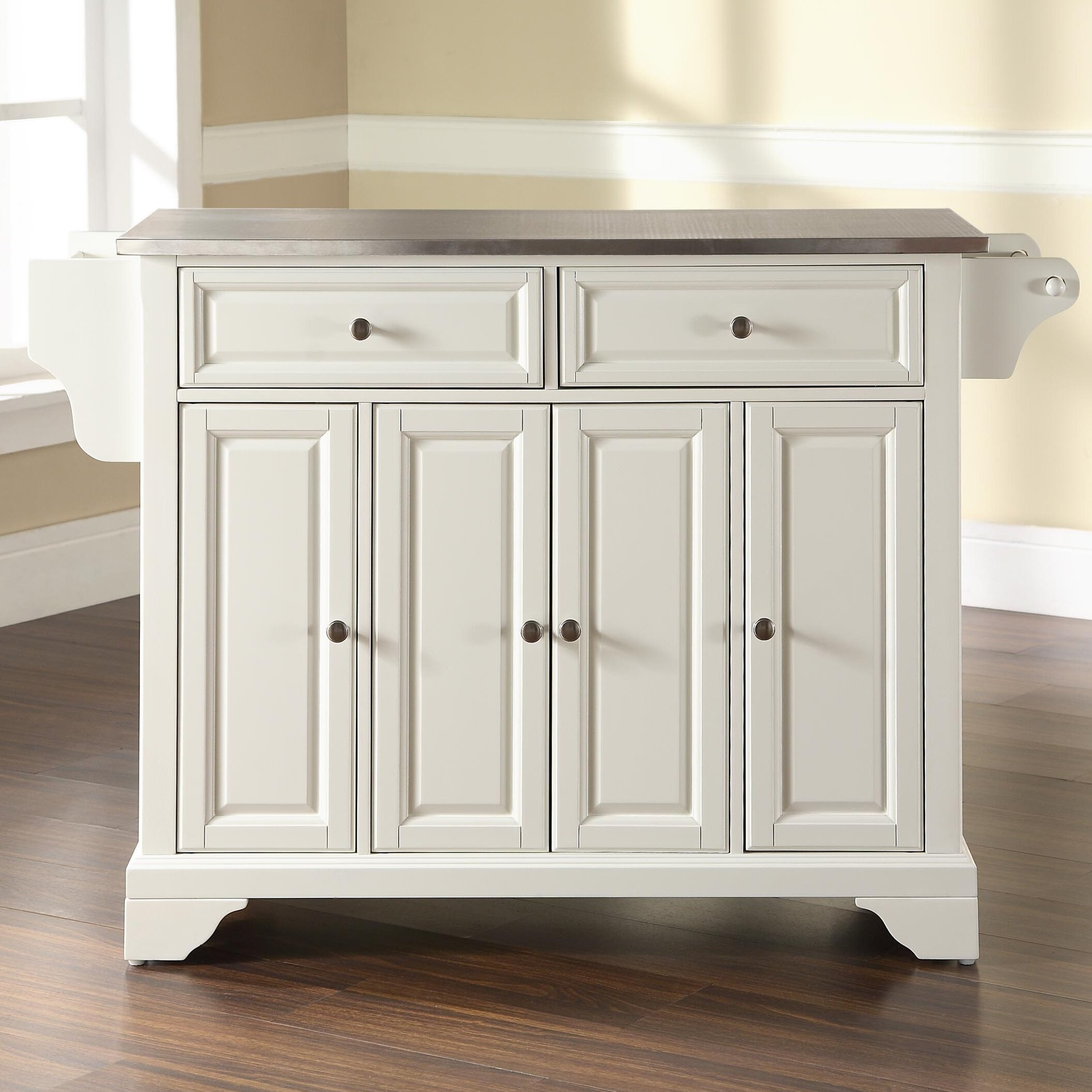 Darby Home Co Abbate Kitchen Island with Stainless Steel Top