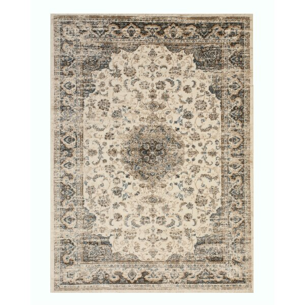 Huckabee Medallion Distressed Gray Area Rug by Charlton Home