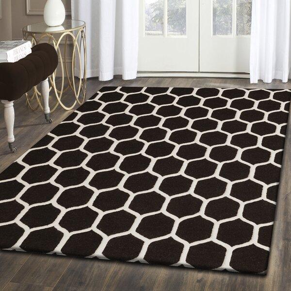 Dewar Hand-Tufted Black/White Wool Area Rug by Brayden Studio