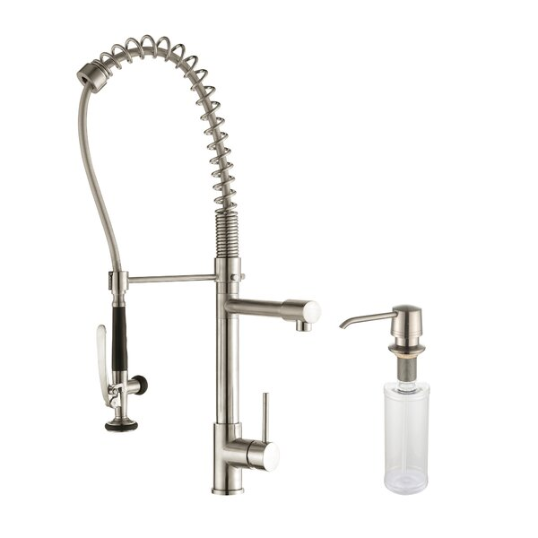 Combo 32.75 L x 19 W Double Basin Undermount Kitchen Sink Set with Kitchen Faucet and Soap Dispenser by Kraus
