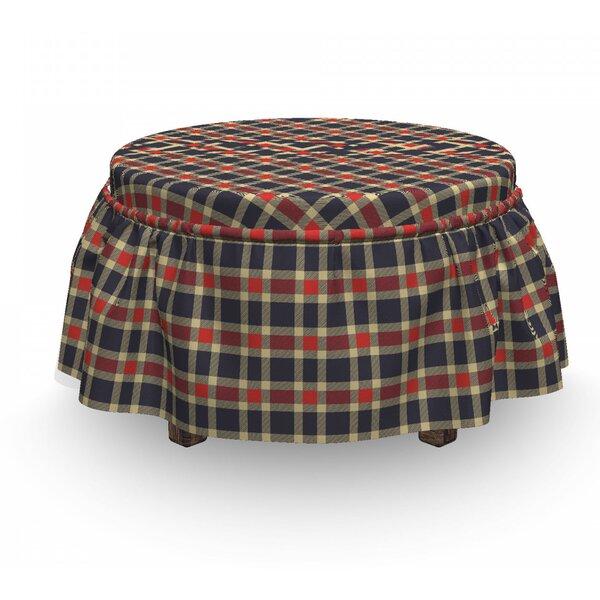 Checkered Vintage Plaid Lines 2 Piece Box Cushion Ottoman Slipcover Set By East Urban Home