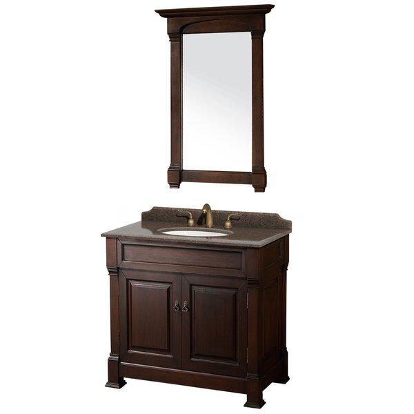 Andover 36 Single Dark Cherry Bathroom Vanity Set with Mirror by Wyndham CollectionAndover 36 Single Dark Cherry Bathroom Vanity Set with Mirror by Wyndham Collection