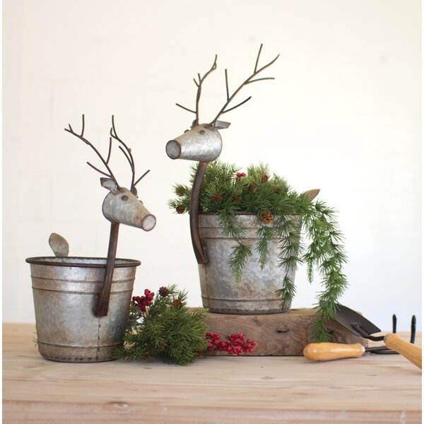 2-Piece Metal Statue Planter Set by The Holiday Aisle