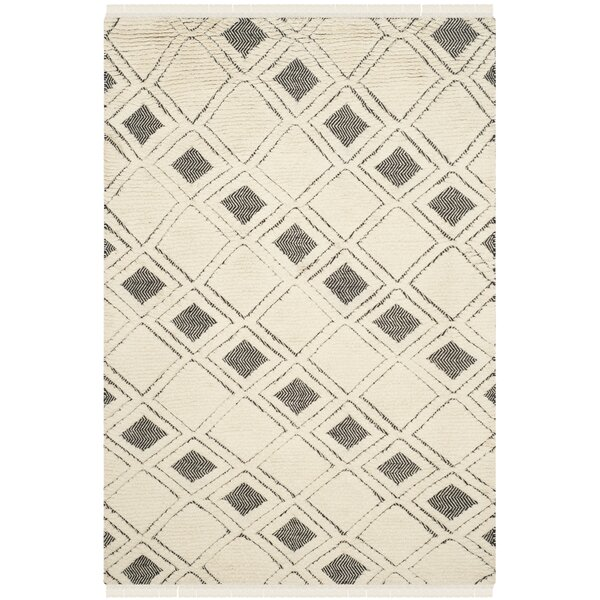 Maffei Hand Woven Cotton Ivory/Black Area Rug by Mistana