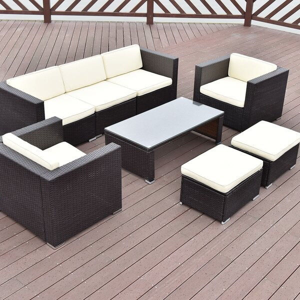 Ejder Outdoor Patio Rattan Cushioned Furniture 8 Piece Sofa Seating Group with Cushions by Latitude Run