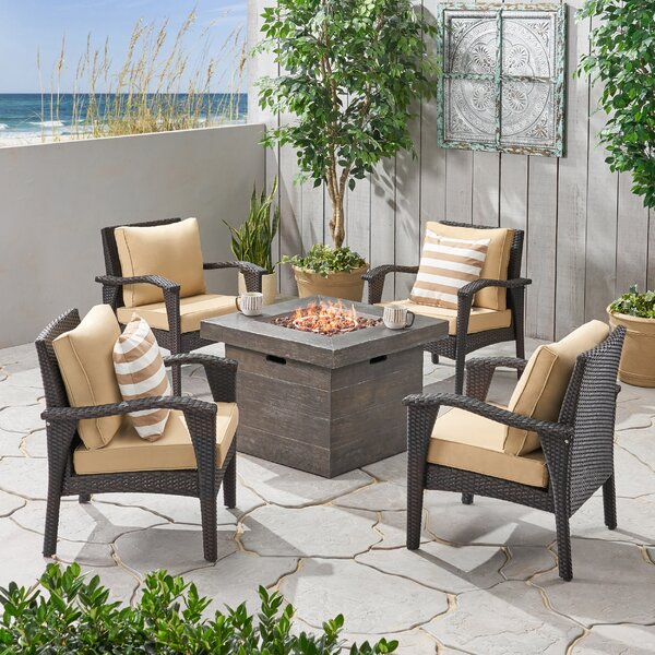 Triplett Outdoor 5 Piece Multiple Chair Seating Group With Cushions by Bayou Breeze