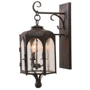 Buying Greenbriar Oak 3-Light Outdoor Wall Lantern By Meyda Tiffany