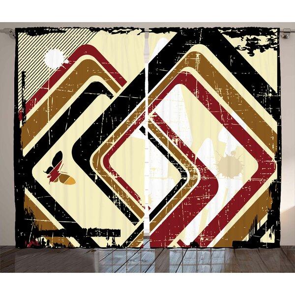 Geometric Square Room Darkening Rod Pocket Curtain Panels (Set of 2) by East Urban Home