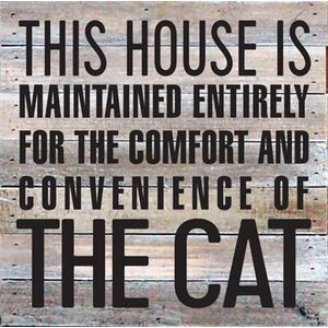 'This House is Maintained Entirely for - The Cat' Textual Art on Wood in Gray by Artistic Reflections
