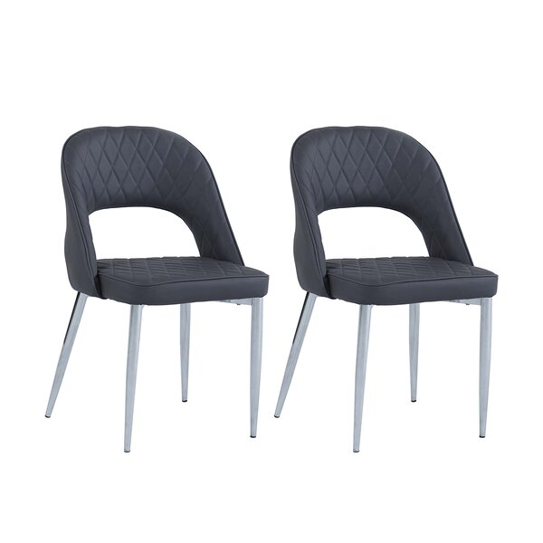Fidelis Upholstered Metal Solid Back Side Chair in Gray (Set of 2) by Orren Ellis Orren Ellis
