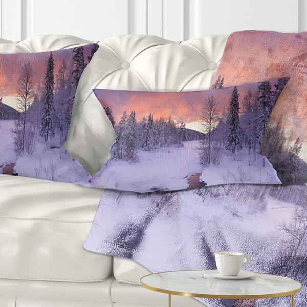 Landscape Finnish Lapland Trees in Winter Lumbar Pillow by East Urban Home