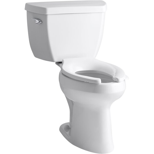 Highline® Classic Comfort Height® Two-Piece Elongated 1.6 GPF Toilet with Pressure Lite® Flush Technology, Left-Hand Trip Lever and Antimicrobial Finish, Less Seat by Kohler