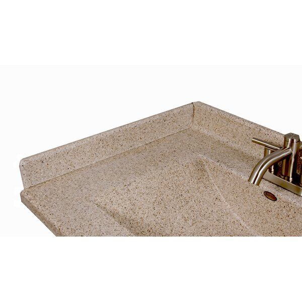 22 X 3 Left Hand Side Splash for Wave Style Bathroom Vanity Top in Cappuccino by Satin Stone