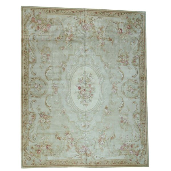 One-of-a-Kind Charles and Plush European Savonnerie Hand-Knotted Ivory Area Rug by Astoria Grand