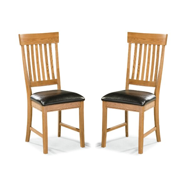 Whipple Slatback Genuine Leather Upholstered Dining Chair (Set of 2) by Millwood Pines