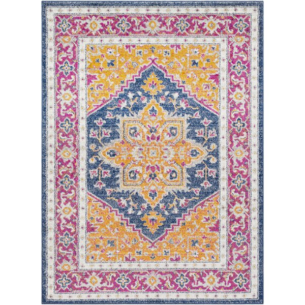 Almonte Traditional Gold/Navy Area Rug by Bungalow Rose
