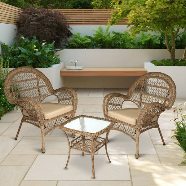 Conkling Resin Wicker 3 Piece Rattan 2 Person Seating Group with Cushions by August Grove
