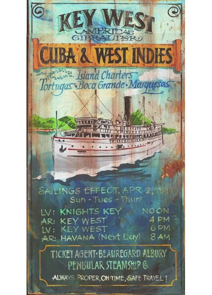 Key West Charters Vintage Advertisement Plaque by Winston Porter