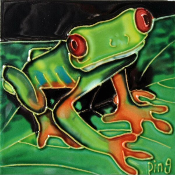 Frog on A Leaf Tile Wall Decor by Continental Art Center
