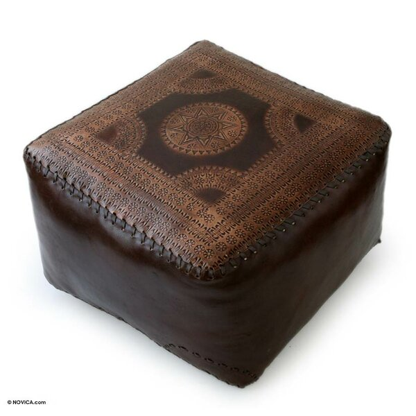 Moon Leather Ottoman Slipcover by Novica