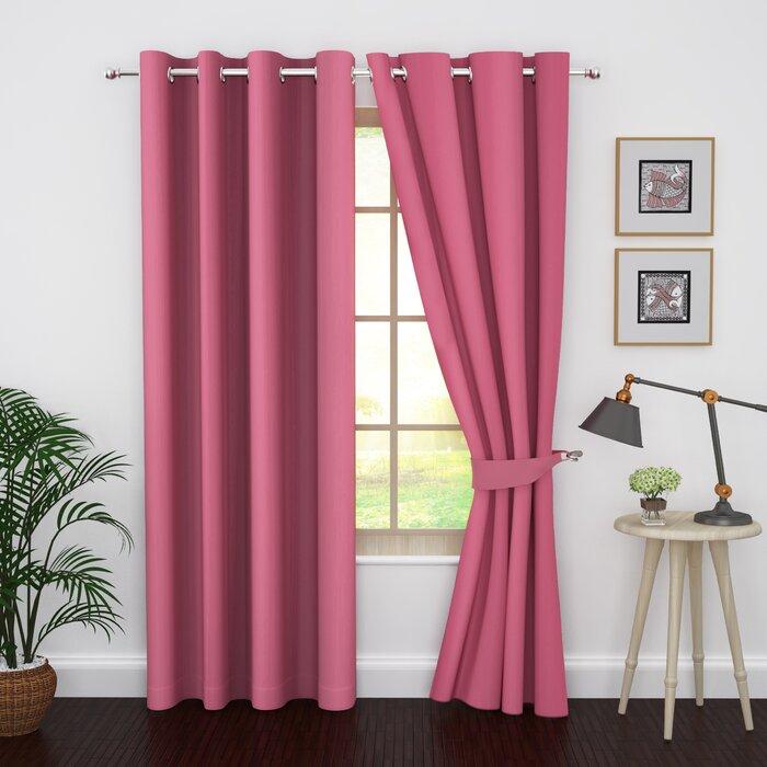 Kaylee Solid Color Blackout Thermal Grommet Curtain Panels (Set of 2)