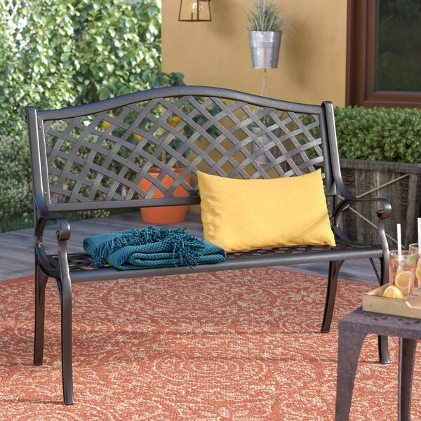 Ismenia Checkered Outdoor Cast Aluminum Patio Garden Bench By Alcott Hill by Alcott Hill Wonderful