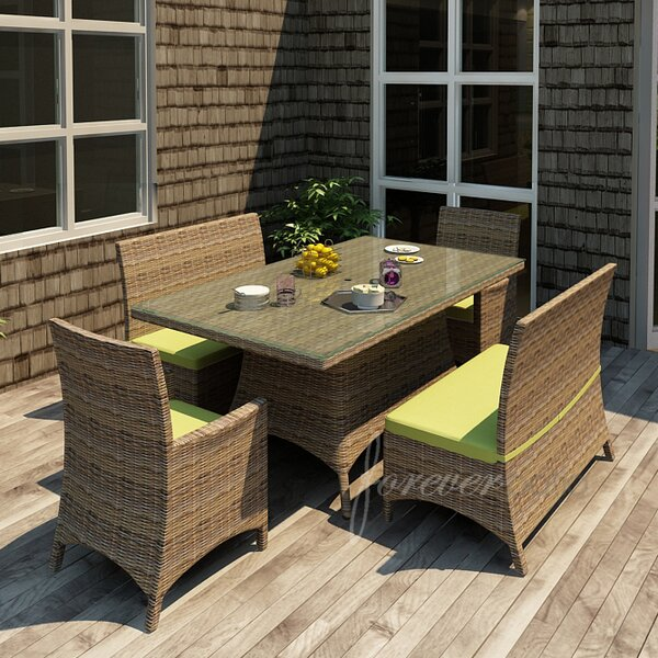 Demetra 5 Piece Dining Set with Sunbrella Cushions by Highland Dunes