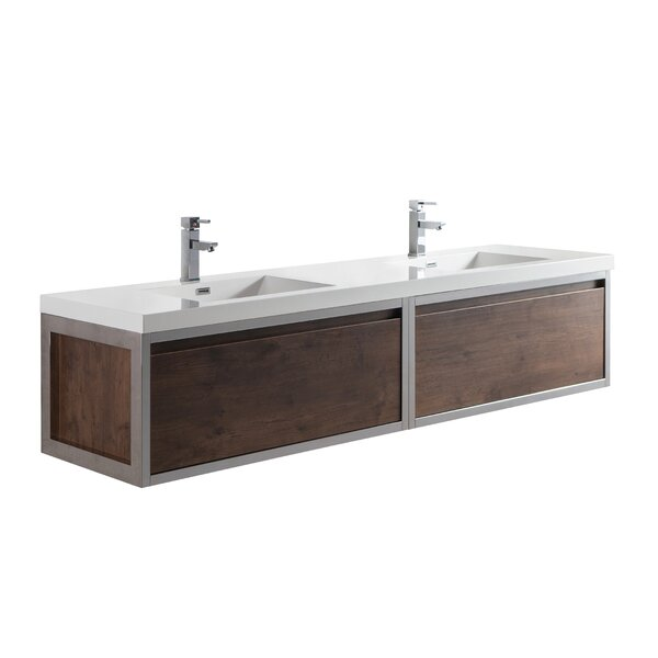 Sandra 84 Wall-Mounted Double Bathroom Vanity Set